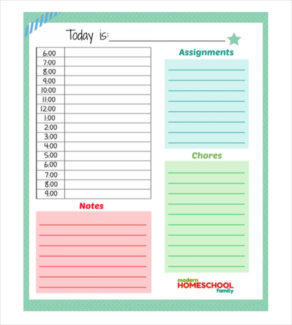 Home School Daily Planner For Kids