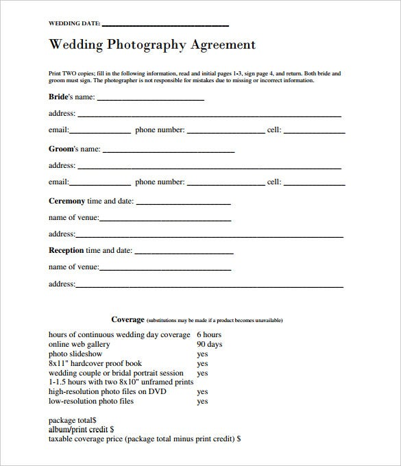 simply blank wedding photography agreement contract template