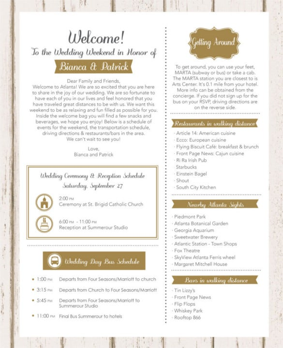 wedding weekend welcome letter template download