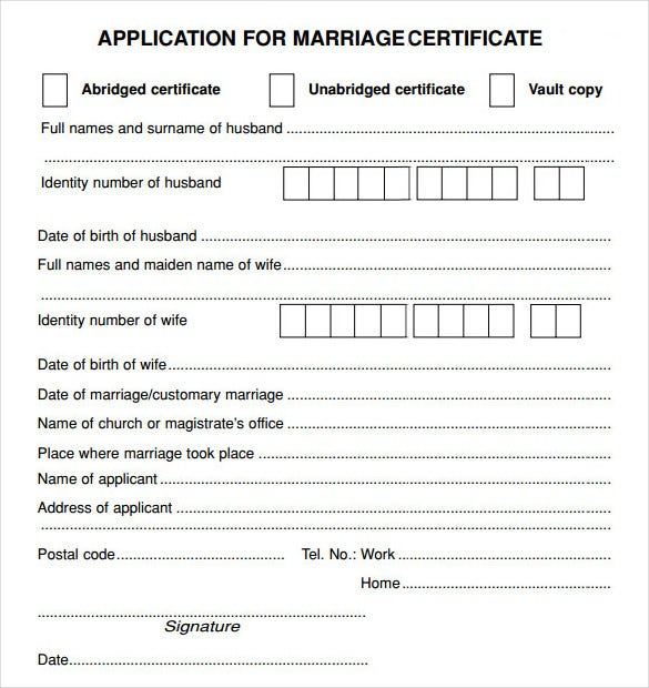 printable marriage contract application form template pdf