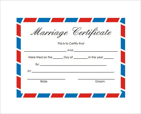 blank wedding marriage certificate templatepdf format