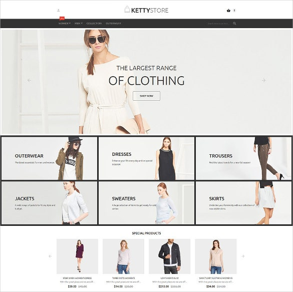 clothes store ecommerce website template
