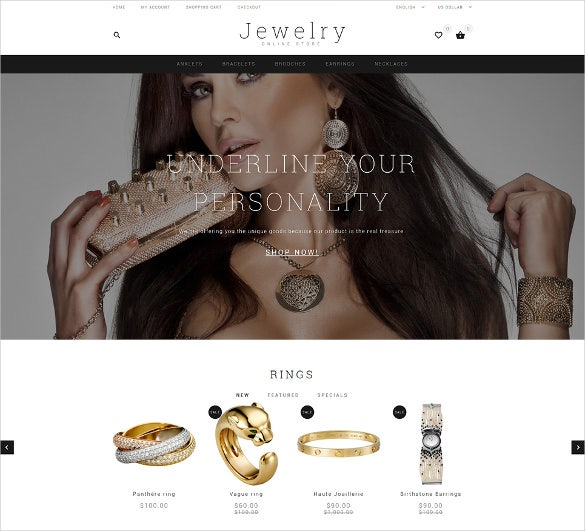 jewelry showcase ecommerce opencart website theme