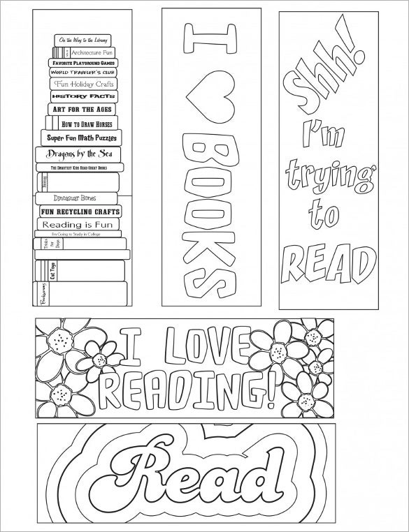 Printable Coloring Bookmark Template Free PDF Download