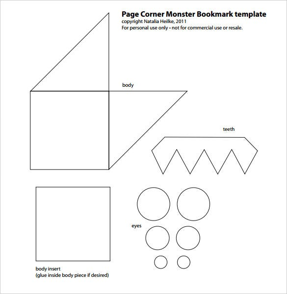 free download page corner monster bookmark template
