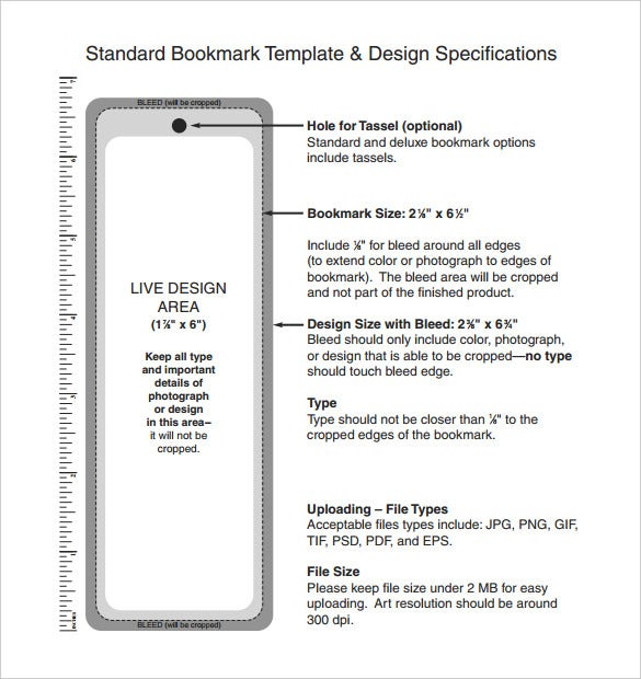 standard bookmark template design size download