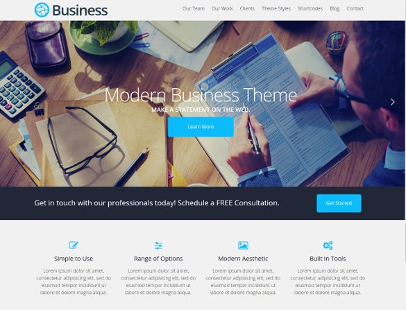 free modern business wordpress theme