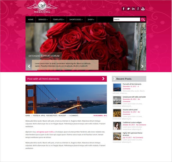 Free Wedding Website Themes Templates Free Premium Templates - Free wedding website templates