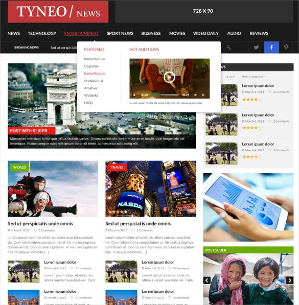 St Tyneo News Magazine Joomla Template