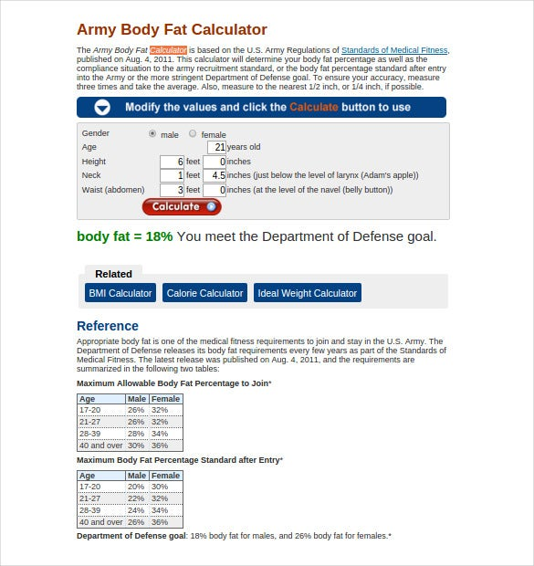 army body fat calculator online