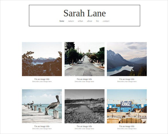 free simple photography website template