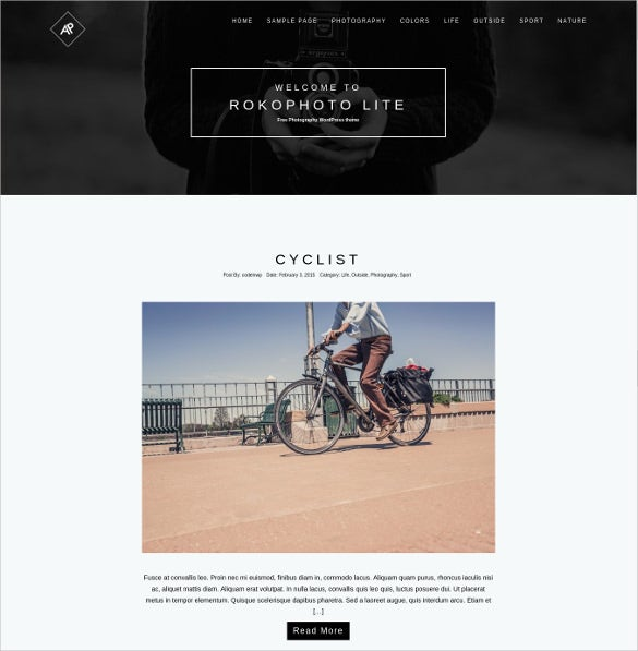 free perfect photography wordpress website theme