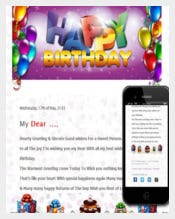 Birthday Email Template With Balloon