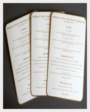 Birthday Menu Card With Gold Boarders