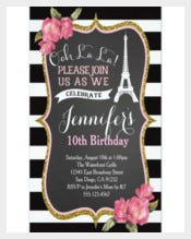 Birthday Party Invitation Templates With Eiffel Tower