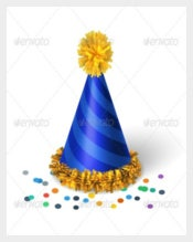 Blue Birthday Hat Template with Spirals Downloads