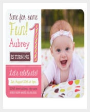 Bright&Pink 1st Birthday Invitation Templates