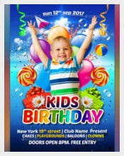 Colorful Kids Birthday Flyer Templates