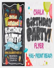 Easy To Edit Chalk Birthday Flyer Templates