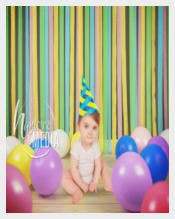 Kids Birthday Background Template With Image