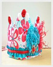 Red&Aqua Princess Birthday Crown Templates