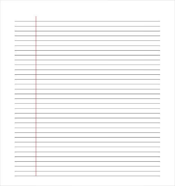 Free Lined Paper Template PDF Download