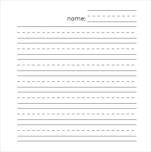 Kindergarten Hand Writing Lined Paper Template PDF  Microsoft Word Notebook Paper Template