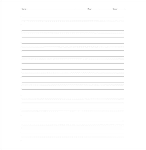 Sample Elementry Lined Paper PDF File Download  Lined Stationary Template