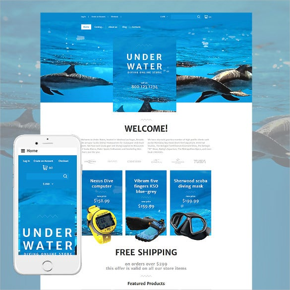 under water responsive joomla virtuemart template