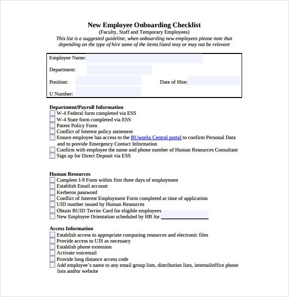Checklist template 38 free word excel pdf documents for New employee orientation template powerpoint