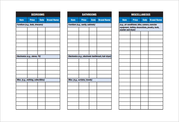 blank home inventory checklist template download