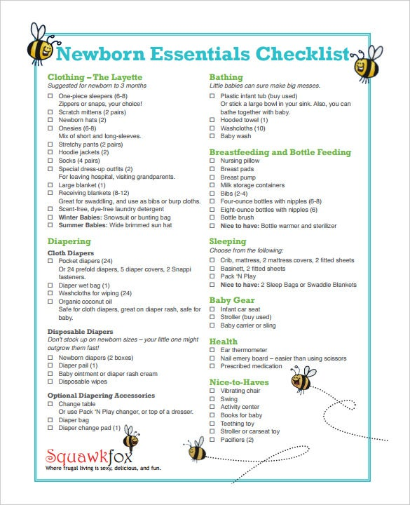 free download newborn essentials checklist template