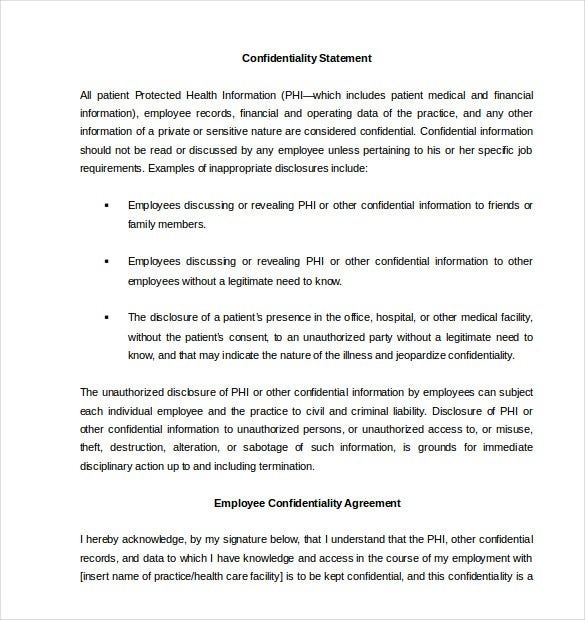 Standard Confidentiality Agreement For Employees Doc