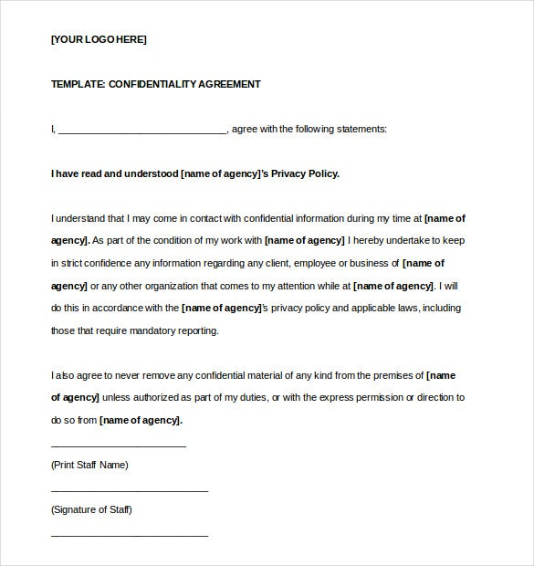 Confidentiality Agreement Template   Free Word Excel Pdf