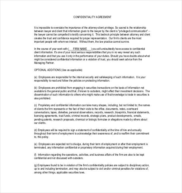 sample client confidentiality agreement pdf format download