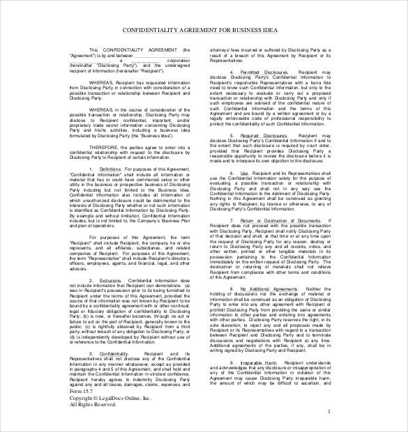 confidentiality agreement ffor a business idea pdf