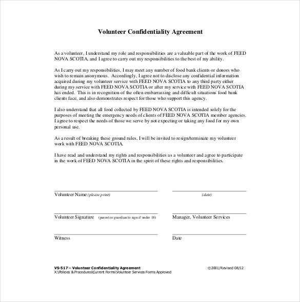 Confidentiality Agreement Template 15 Free Word Excel PDF – Standard Confidentiality Agreement