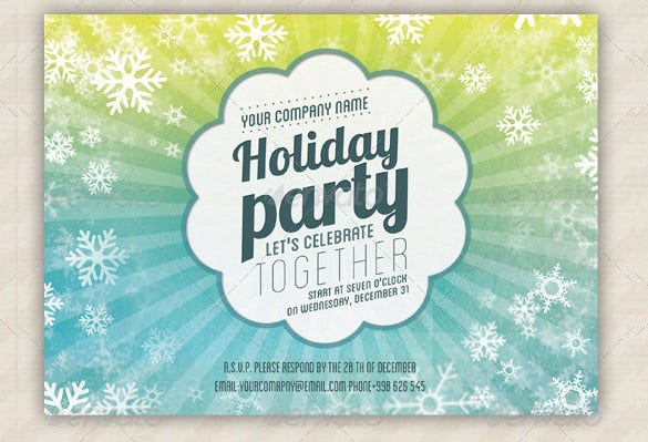 psd format holiday party invitation card template download