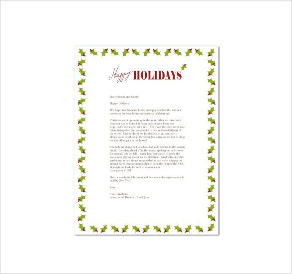 modern holiday letter template download