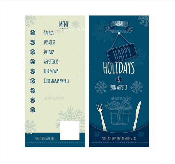 eps format christmas holidays menu template download