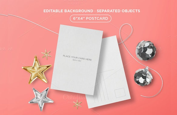 psd format holiday postcard template download