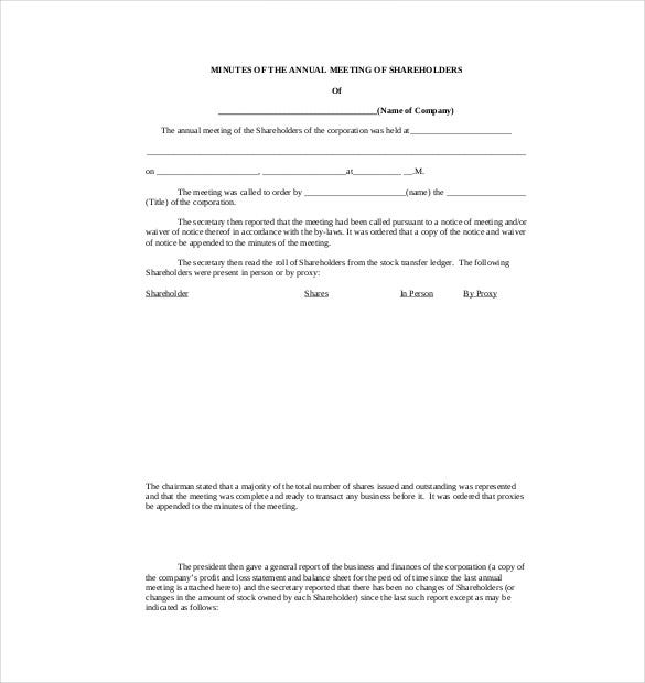 free corporate minutes template pdf format download