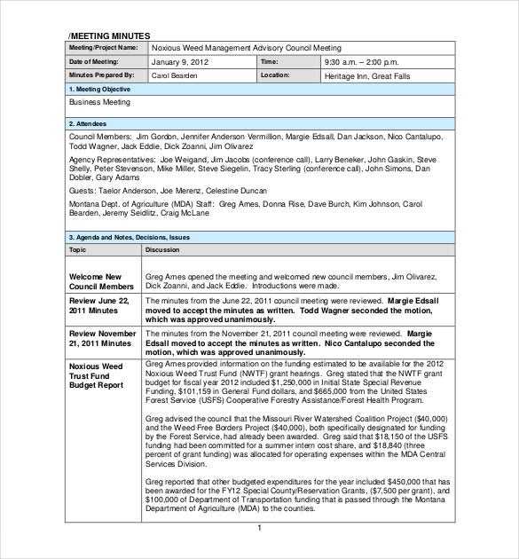 sample project meeting minutes template pdf download