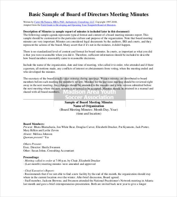 Free Corporate Minutes Template  Free Sample Minutes Of Meeting Template