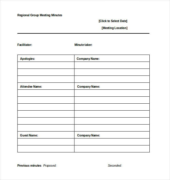 Wonderful Informal Regional Group Meeting Minutes Template Word