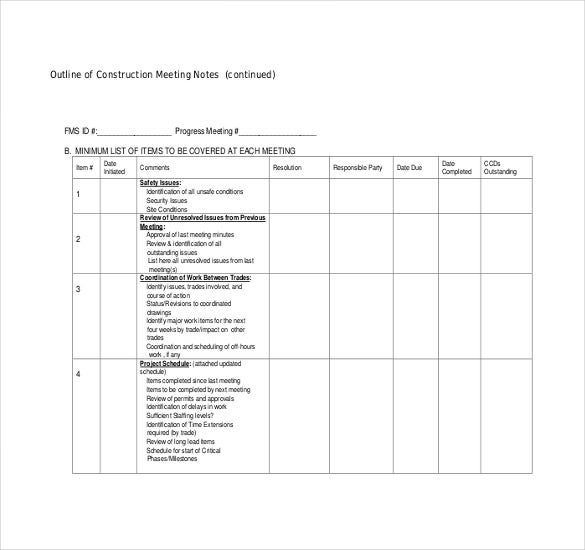 outline of construction meeting minutes template