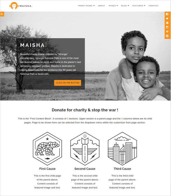 responsive non profit wordpress website template