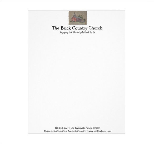 brick country church letterhead template download