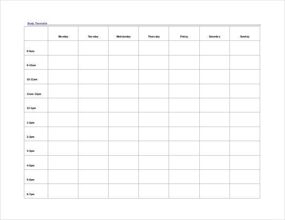 timetable template –   free word  pdf  documents download    free    study timetable word template free download