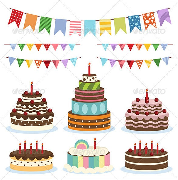 colorful birthday banners and cakes eps format